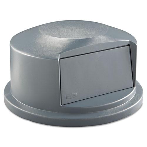 Round BRUTE Dome Top Receptacle, Push Door, 24.81w x 12.63h, Gray