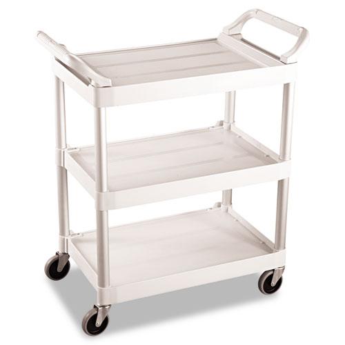 Service Cart, 200-lb Capacity, Three-Shelf, 18.63w x 33.63d x 37.75h, Off-White