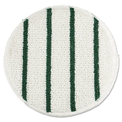 Low Profile Scrub-Strip Carpet Bonnet, 19 Diameter, White/Green