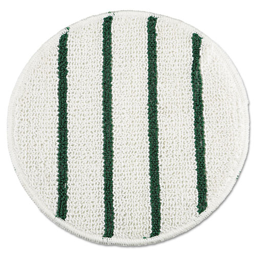 Low Profile Scrub-Strip Carpet Bonnet, 21 Diameter, White/Green