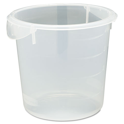 Rubbermaid® Commercial Round Storage Containers, 4qt, 8 1/2 dia x 7 3/4h, Clear