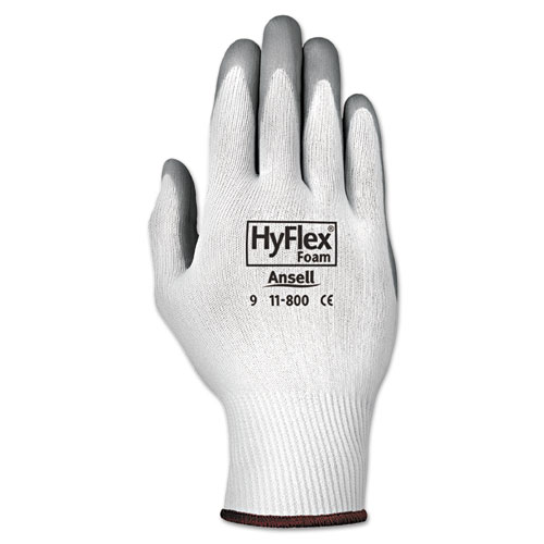 HyFlex Foam Gloves, White/Gray, Size 9, 12 Pairs | by Plexsupply