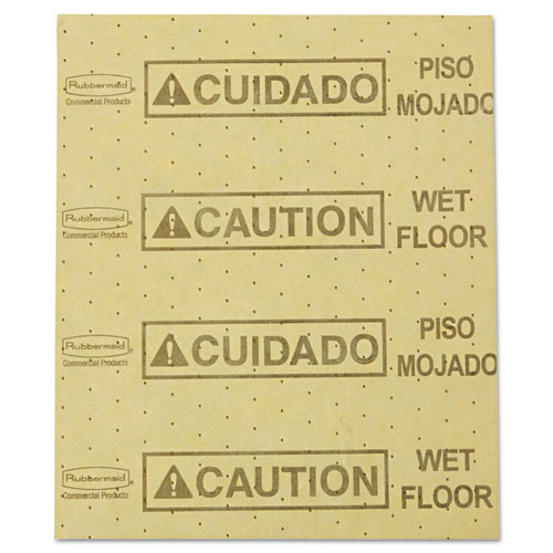 "Rubbermaid® Commercial Over-the-Spill Pad, ""Caution Wet Floor"", Yellow, 16 1/2"" x 20"", 22 Sheets/Pad"