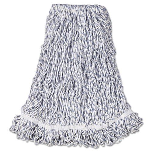 "Web Foot Finish Mop, Cotton/Synthetic, White, Large, 1"" White Headband, 6/Carton   by Plexsupply"