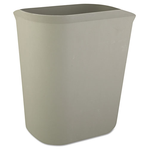 Rubbermaid® Commercial Fire-Resistant Wastebasket, Rectangular, Fiberglass, 1.75 gal, Beige