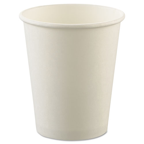 Uncoated Paper Cups, Hot Drink, 8oz, White, 1000/Carton | by Plexsupply
