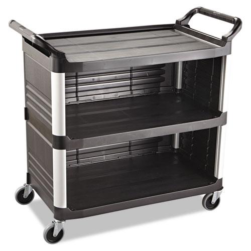 Xtra Utility Cart, 300-lb Capacity, Three-Shelf, 20w x 40.63d x 37.8h, Black