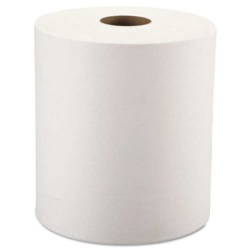 Hardwound Roll Towels, 8 x 800 ft, White, 6 Rolls/Carton