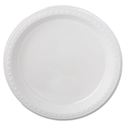 Heavyweight Plastic Plates, 9 Diameter, White, 125/Pack, 4 Packs/CT
