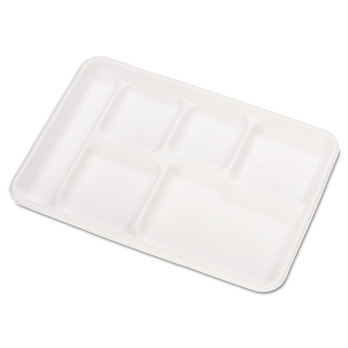 Heavy-Weight Molded Fiber Cafeteria Trays, 6-Comp, 8 1/2 x 12 1/2, 500/Carton | by Plexsupply