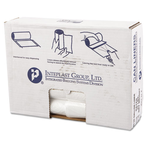 High-Density Commercial Can Liners Value Pack, 30 gal, 11 microns, 30 x 36, Clear, 500/Carton
