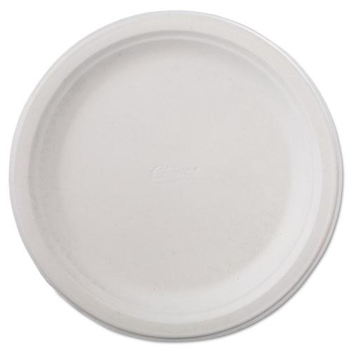 "Classic Paper Dinnerware, Plate, 9 3/4"" dia, White, 125/Pack, 4 Packs/Carton | by Plexsupply"