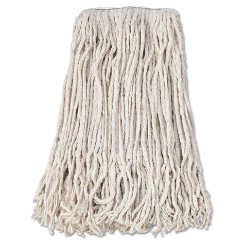Boardwalk® Banded Cotton Mop Head, #24, White, 12/Carton