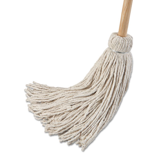 Deck Mop 54 Wooden Handle, 24oz Cotton Fiber Head, 6/Pack