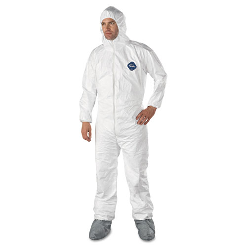 DuPont® Tyvek Elastic-Cuff Hooded Coveralls w/Boots, White, Large, 25/Carton DUPTY122SL