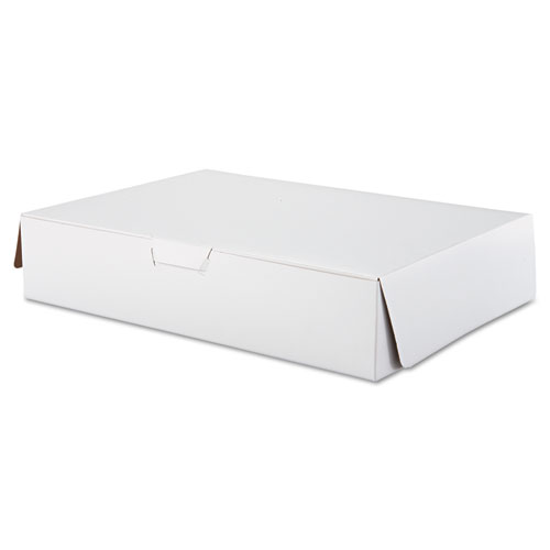 Tuck-Top Bakery Boxes, 19w x 14d x 4h, White, 50/Carton