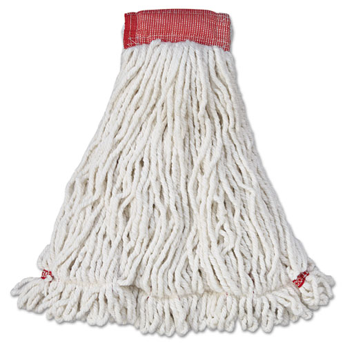 Web Foot Wet Mop Head, Shrinkless, Cotton/Synthetic, White, Large, 6/Carton   by Plexsupply