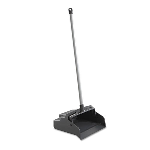 LobbyMaster Plastic Dust Pan, 12w x 37h, Black Pan/White Handle