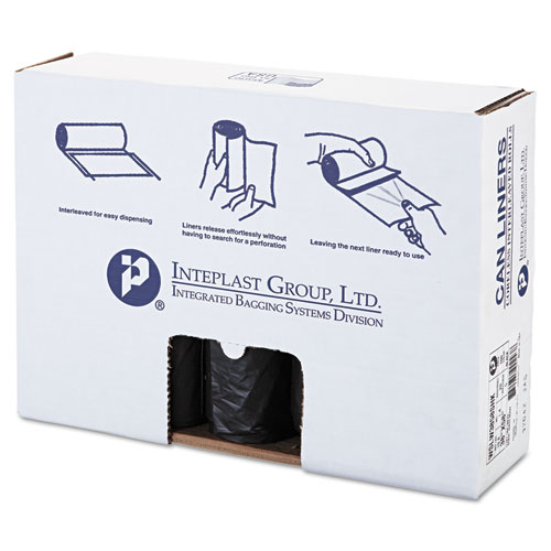 """Inteplast Group Low-Density Commercial Can Liners, 60 gal, 1.4 mil, 38"""" x 58"""", Black, 100/Carton"""