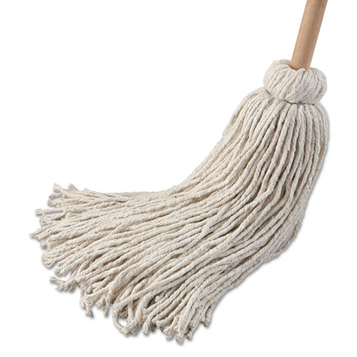 Deck Mop 54 Wooden Handle, 32 oz Cotton Fiber Head, 6/Pack