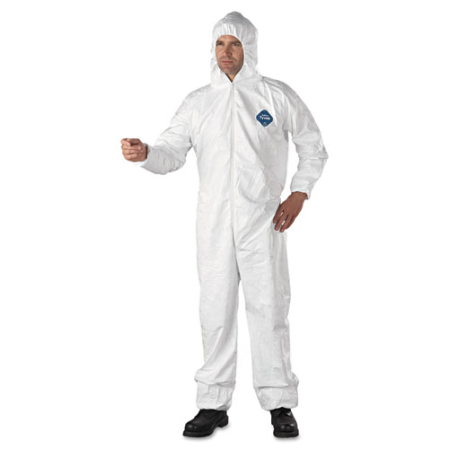 Tyvek Elastic-Cuff Hooded Coveralls, HD Polyethylene, White, X-Large, 25/Carton