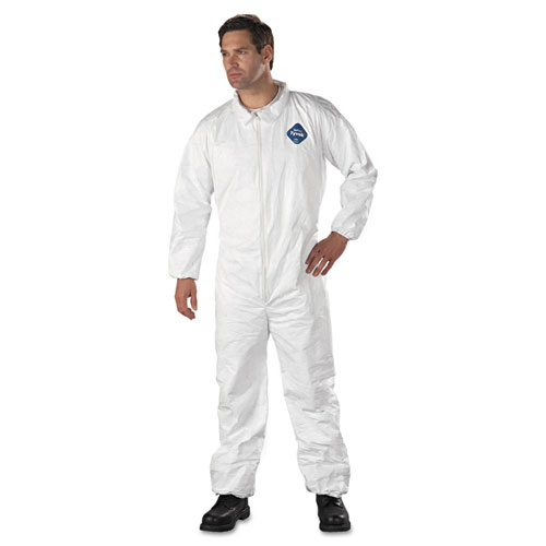 Tyvek Elastic-Cuff Coveralls, HD Polyethylene, White, Large, 25/Carton