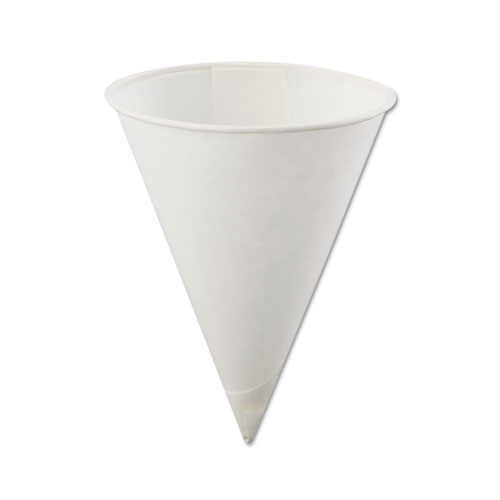 Rolled Rim, Poly Bagged Paper Cone Cups, 4oz, White, 5000/Carton 40KBR