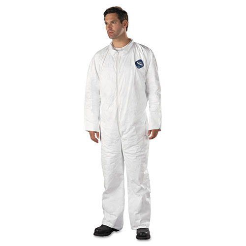 Tyvek Coveralls, Open Wrist/Ankle, HD Polyethylene, White, 3X-Large, 25/Carton