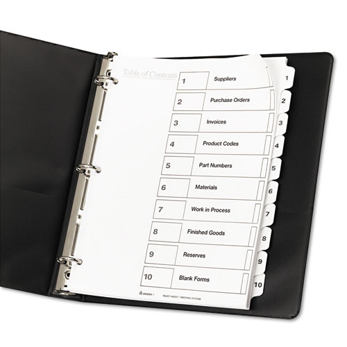 Customizable TOC Ready Index Black And White Dividers, 10