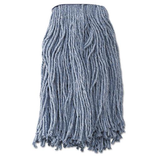 Mop Head, Standard Head, Cotton/Synthetic Fiber, Cut-End, #20, Blue, 12/Carton | by Plexsupply