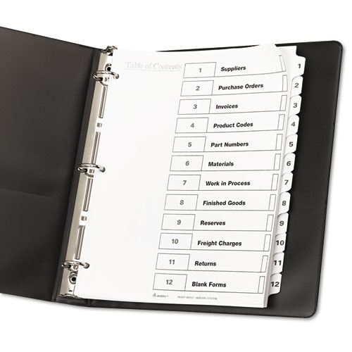 Ave11140 avery ready index customizable table of contents for 12 tab divider template