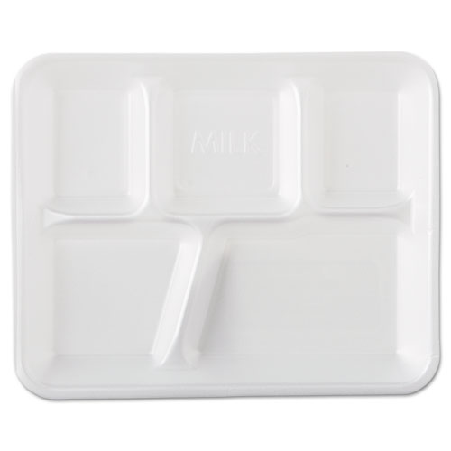 Foam School Trays, 5-Compartment, 8.4 x 10.4 x 1.25, White, 500/Carton