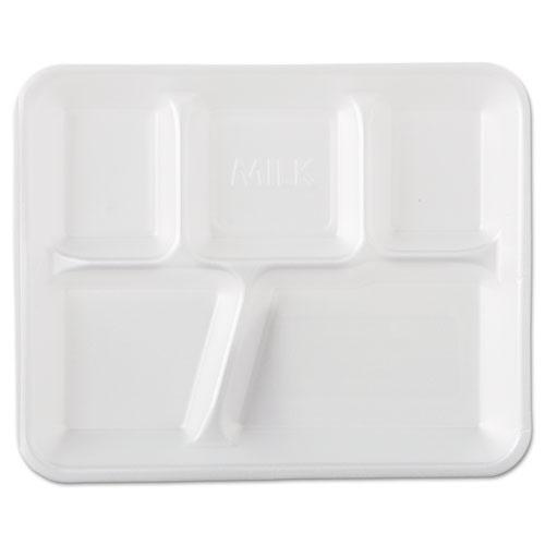 Foam School Trays, 5-Comp, 10 2/5 x 8 2/5 x 1 1/4, White, 500/Carton