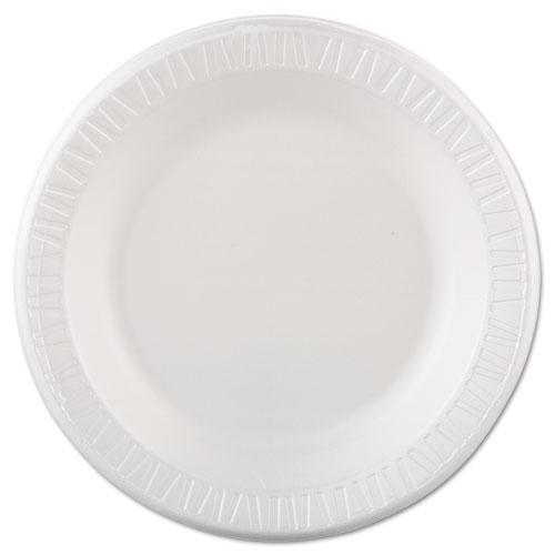 "Quiet Classic Laminated Foam Dinnerware, Plate, 10 1/4"", White, 125/Pk, 4 Pks/Cs | by Plexsupply"