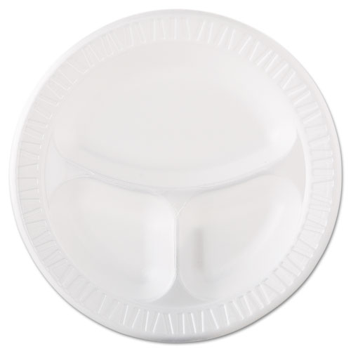 Laminated Foam Dinnerware, Plate, 3-Comp, 10 1/4, White, 125/Pk, 4 Pks/Ctn