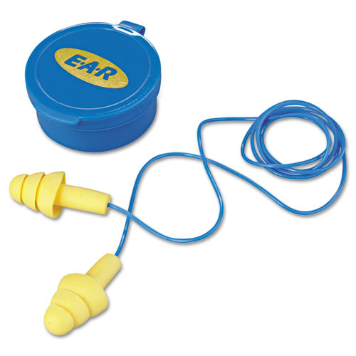 EAR UltraFit Multi-Use Earplugs, Corded, 25NRR, Yellow/Blue, 50 Pairs | by Plexsupply
