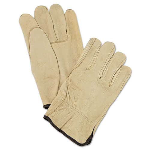 Unlined Pigskin Driver Gloves, Cream, Large, 12 Pairs