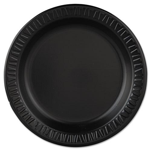 "Dart® Quiet Classic Laminated Foam Dinnerware, Plate, 9"" dia, Black, 125/Pack, 4 Packs/Carton"