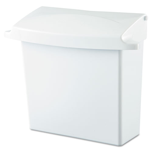 Sanitary Napkin Receptacle with Rigid Liner, Rectangular, Plastic, White