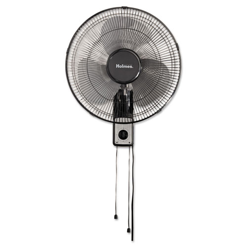 "16"" Wall Mount Fan, 3-Speed, Metal, Black 
