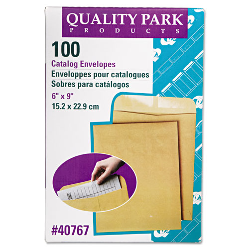 Catalog Envelope, #1, Cheese Blade Flap, Gummed Closure, 6 x 9, Brown Kraft, 100/Box   by Plexsupply