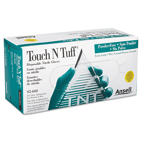 Touch N Tuff Nitrile Gloves, Teal, Size 9 1/2 - 10, 100/Box