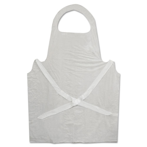 Disposable Apron, White, Poly, 28 x 45, 1.25 mil, One Size, 100/Pk
