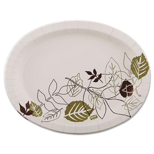 Pathways Heavyweight Oval Platters, 8 1/2 x 11, Green/Burgundy, 125/Pack | by Plexsupply