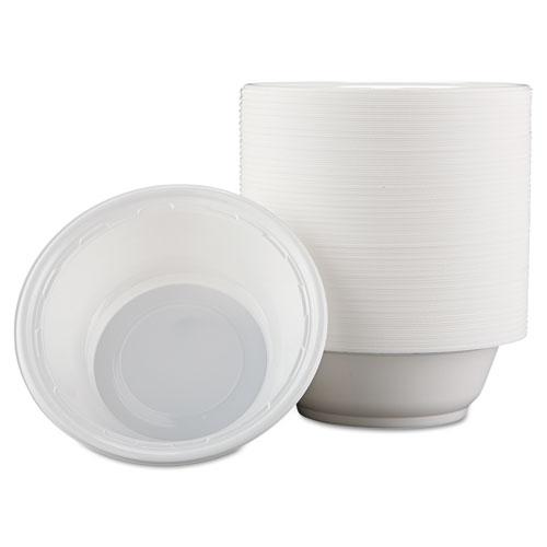 Famous Service Plastic Dinnerware, Bowl, 12oz, White, 125/Pack, 8 Packs/Carton
