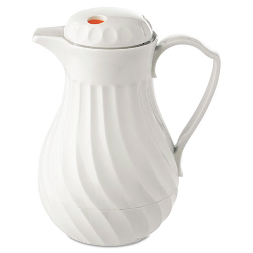 Poly Lined Carafe, Swirl Design, 64oz Capacity, White | by Plexsupply