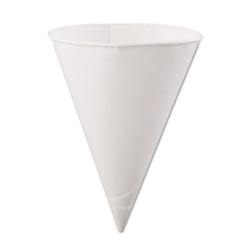 Rolled Rim, Poly Bagged  Paper Cone Cups, 6oz, White, 200/Bag, 25 Bags/Carton 60KBR