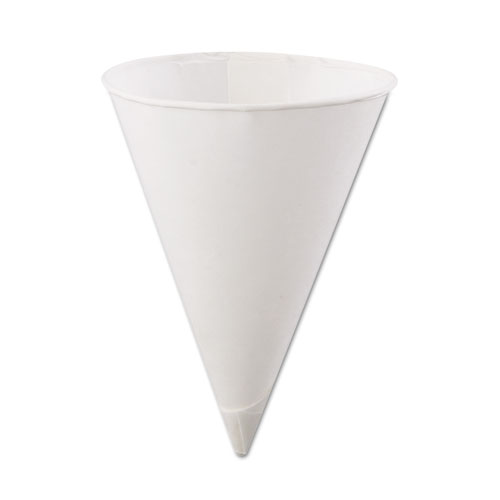 Rolled Rim Paper Cone Cups, 4.5oz, White, 200/Bag, 25 Bags/Carton 45KR