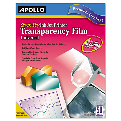 Quick-Dry Color Inkjet Transparency Film, Letter, Clear, 50/Box