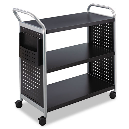 Scoot Three-Shelf Utility Cart, 31w x 18d x 38h, Black/Silver